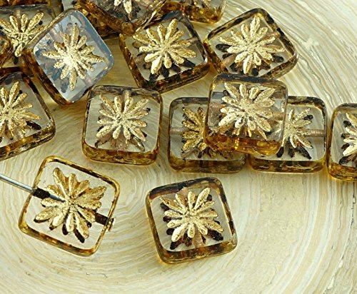 8pcs Picasso Crystal Gold Wash Rustic Window Table Cut Flat Flower Square Czech Glass Beads 10mm