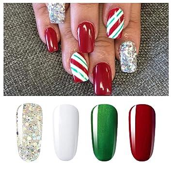 Vishine Soak Off UV LED Christmas Collection Glitter Gel Nail Polish Color  Set Of 4 Colors X 8ml Red White Green Sparkle Silver Nail Art Kit Set