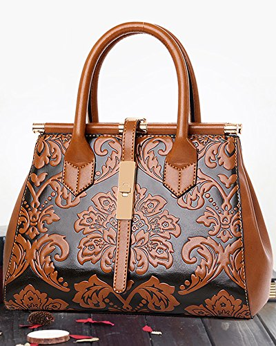 Leather Bags Top Handbag Shoulder Ladies Totes Fashion Handle PU Brown Satchel Bags Women's xIwYPqAEnw