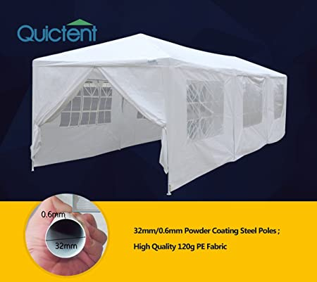 Quictent 10 x 30 High-Grade White Gazebo Party Wedding Tent Canopy Pavilion Shelter with 6 Removable Sidewall