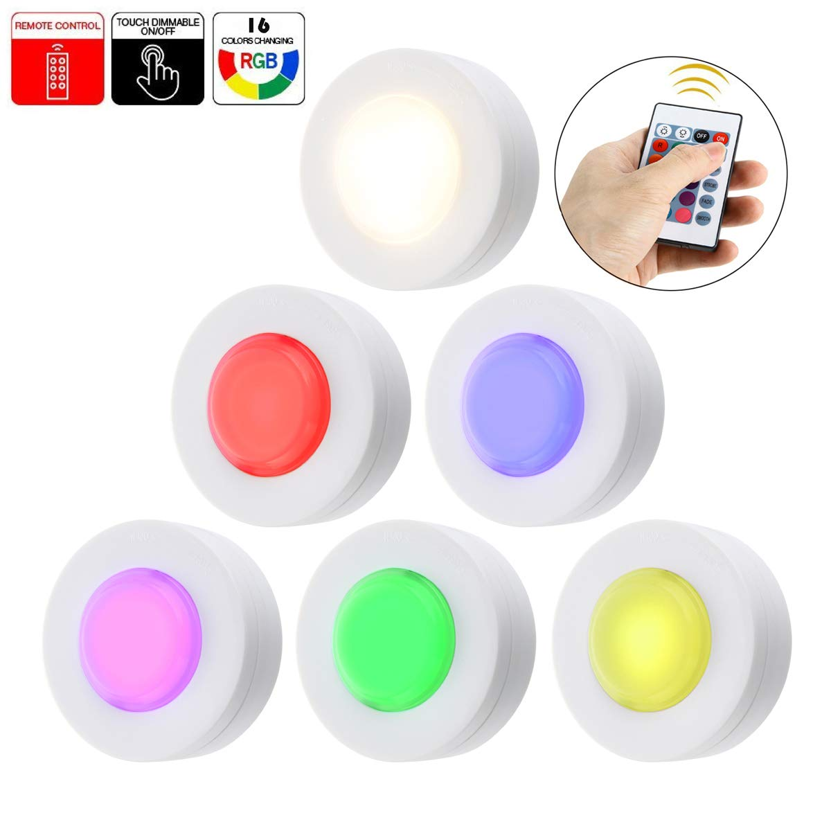 Wireless Color Changing LED Puck Light 6 Pack with Remote Controls | LED Under Cabinet Lighting | Closet Light | Battery Powered Lights | Under Counter Lighting | Stick On Lights