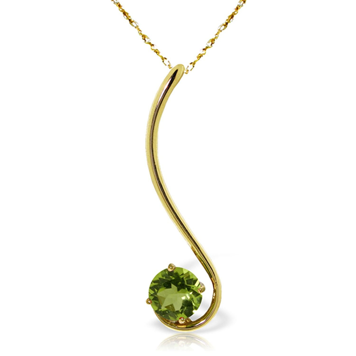ALARRI 0.55 Carat 14K Solid Gold Fancy And Imagination Peridot Necklace with 22 Inch Chain Length