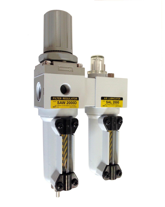 PneumaticPlus SAU2010M-N02G-MEP Mini Two-Unit Compressed Air Filter Regulator Lubricator Piggyback Combo 1/4'' NPT - Metal Bowl, Manual Drain, Gauge