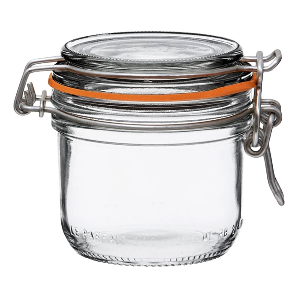 6 Le Parfait Super Terrines - New Stainless Steel Wire - Wide Mouth French Glass Preserving Jars with Straight Bodies, Glass Lids and Natural Rubber Seals (6, 200ml - 7oz - SS)