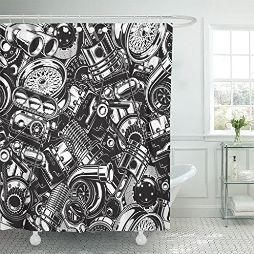 Turbo Piston - MAYTEC Shower Curtain Auto Automobile Car Parts with Monochrome Black and White Automotive Mechanic Waterproof Polyester Fabric 72 x 72 inches Set with Hooks