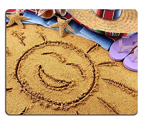 y011 Natural Rubber Gaming Mouse pad Mouse mat Smiling Sun Drawn in Sand on a Mexican Beach with Sombrero Straw hat Traditional Serape Blanket Starfish and Seashells PM011160 ()