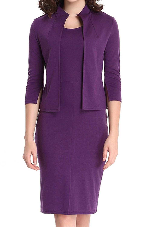 Vepodrau Womens Bodycon Dresses Blazer Two Piece 3/4 Sleeve Midi Business Dress