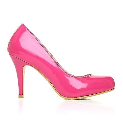874ab44e911 PEARL Fuchsia Patent PU Leather Stiletto High Heel Classic Court Shoes   Amazon.co.uk  Shoes   Bags