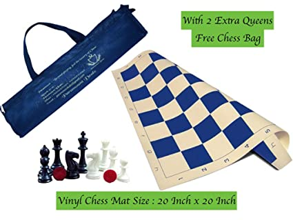 Paramount Dealz 20x 20 Professional Vinyl Chess Set (Fide Standards) with 2 Extra Queens Chess Bag, Blue
