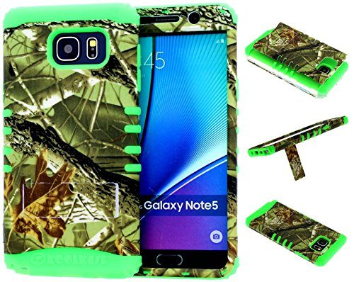 Galaxy Note 5 Case, Hybrid Kickstand Shockproof Impact Resistant Cover E Camo Mossy Leaf Branch Over Lime Green Silicone Skin for Galaxy Note 5 Cover