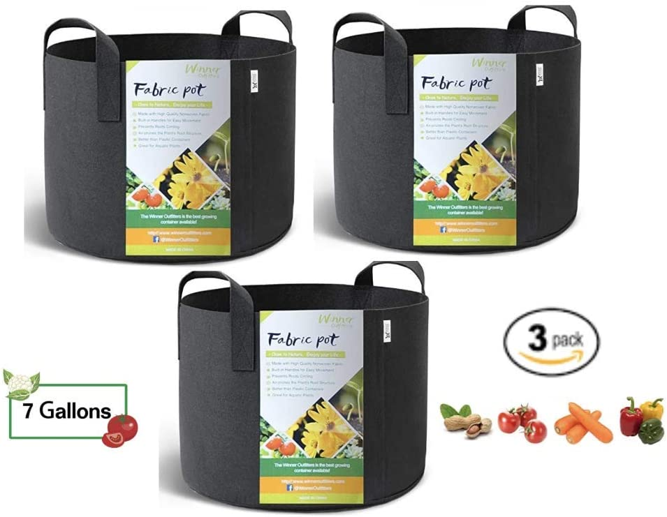 Yenwod Gardens 3-Pack 7 Gallons Grow Bags, Potato Planter Bag w Handles, Planting Grow Bags Aeration Fabric Pots for Plant and Vegetable Garden
