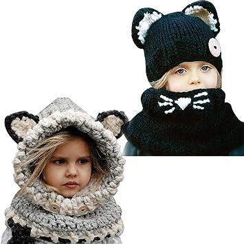 Bonnet de Laine Tricote Renard Ensemble Echarpe Hiver Pour Enfant  Réchauffent Cartoon Style Oreilles de Chat 18cf41d39ab