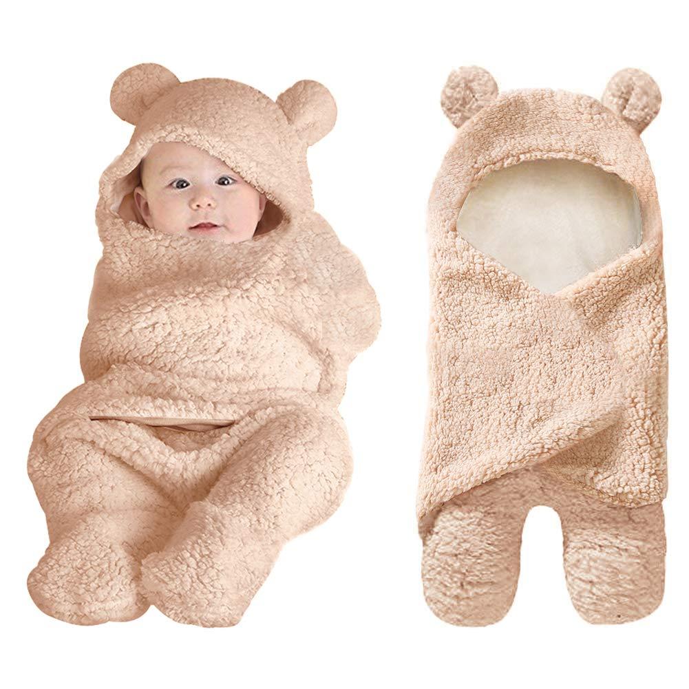 XMWEALTHY Cute Newborn Baby Boys Girls Blankets Plush Swaddle Blankets Brown