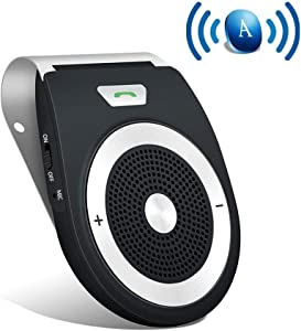 Aigital Bluetooth Car Speaker Hands Free Kit Auto Power On Speakerphone with Motion Sensor for Clear Hands-Free Call, GPS, Music Streaming Wireless in Car Visor Speaker for iPhone Samsung