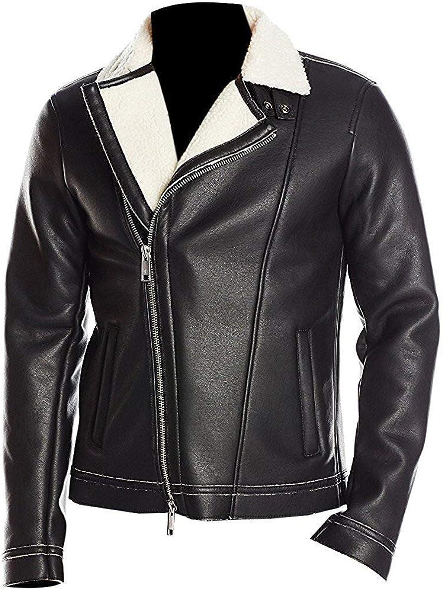 US Global Elegant Woolish Fur Collar Leather Jacket for Men