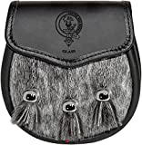 Glass Semi Dress Sporran Fur Plain Leather Flap Scottish Clan Crest