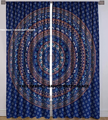 Elephant Mandala PC Curtain Set Room Divider Home Decor D...