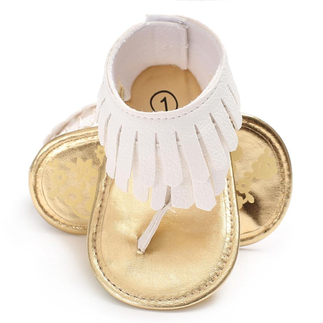 Voberry Toddler Baby Girls Tassel Sandals Soft Soled Anti-slip Fringe Footwear Shoes (0-6 Month, White 1)