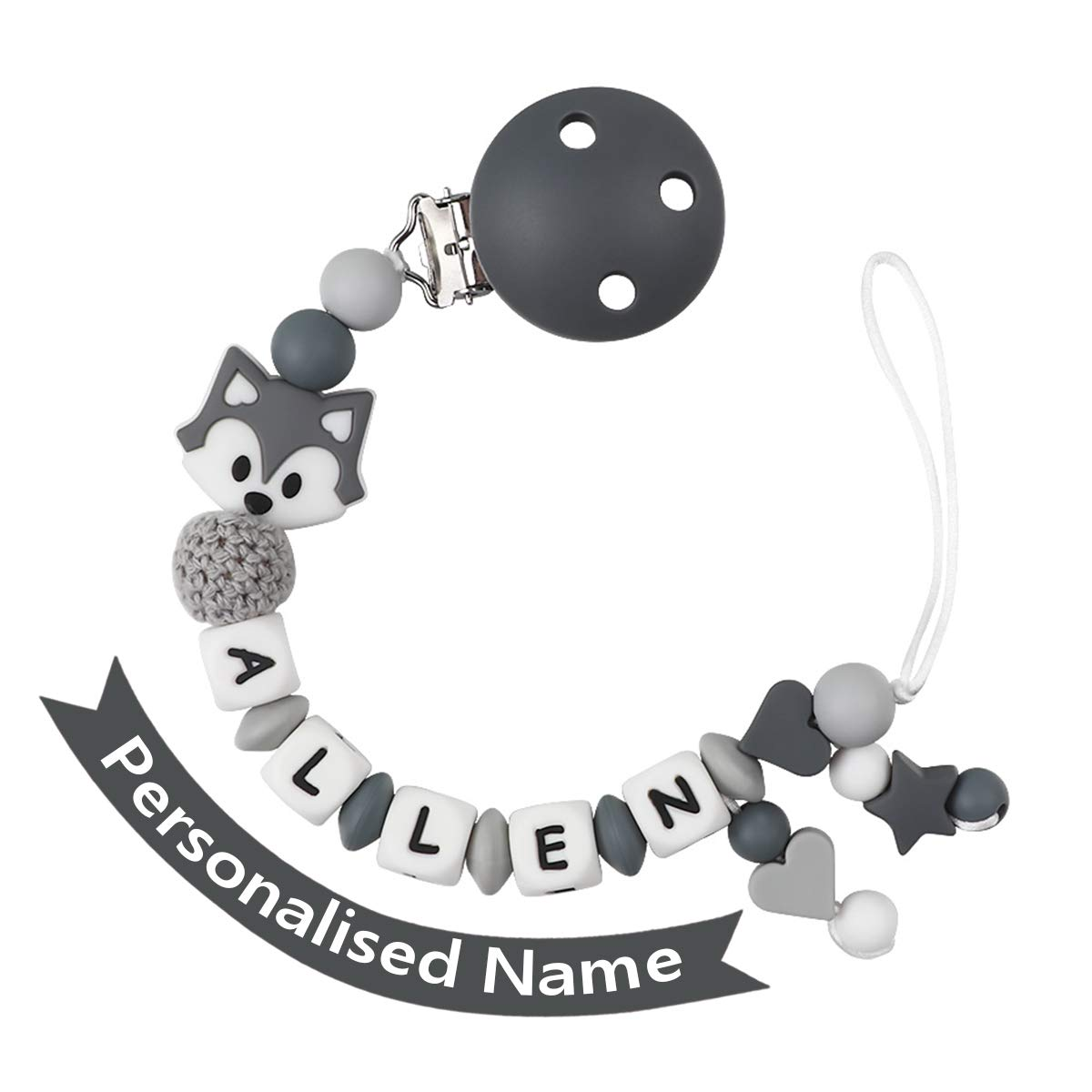 Dummy Clips Personalised Name Boys Teething Silicone Baby Pacifier Chain Soother Chain BPA Free Teething Relief Beads Binky Teether Holder Set Fox Grey with Teething Ring