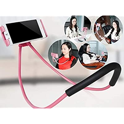 LuoMing Lazy Hang Neck Phone Support, 360 Degree Rotation Flexible Multi-Function Creative Mobile Phone Holder Desktop Bed Car Lazy Bracket Mobile Stand Support All Mobiles (Pink)