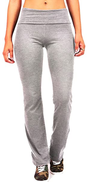 f8e4c4539d ToBeInStyle Women's Elastic Exercise Sweatpants w/Fold-Over Waistband (2  Pack - Small