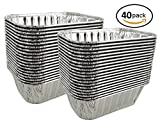 Pactogo 1 lb. Disposable Aluminum Foil Small Mini Loaf Bread Baking Pan 6.1'' x 3.75'' x 2'' - Made in USA (Pack of 40)