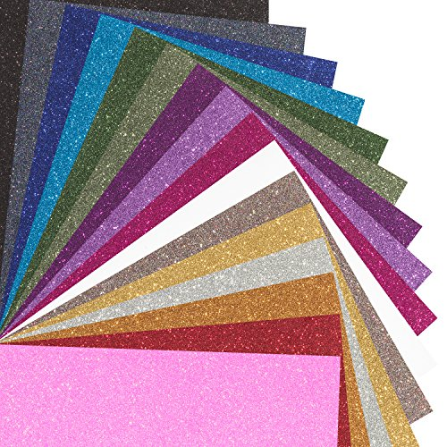 MAREA Premium Glitter Heat Transfer Vinyl (HTV) Sheets - 16 Color Bundle Pack, multi-colors, Vinyl Heat Transfer, HTV Bundle for T-shirts & Iron On, Silhouette Cameo, Heat Press & Cricut Machines by Bright Idea Supplies