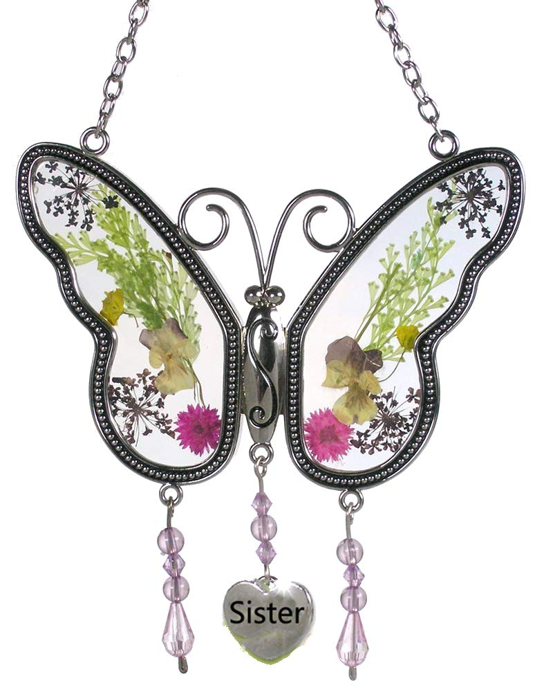 Tiffany Lamp & Gift Factory Sister Butterfly Suncatchers Wind Chime with Pressed Flower Wings Embedded in Glass with Metal Trim Sister Heart Charm - Gifts for Sister -Sister for Birthdays Christmas