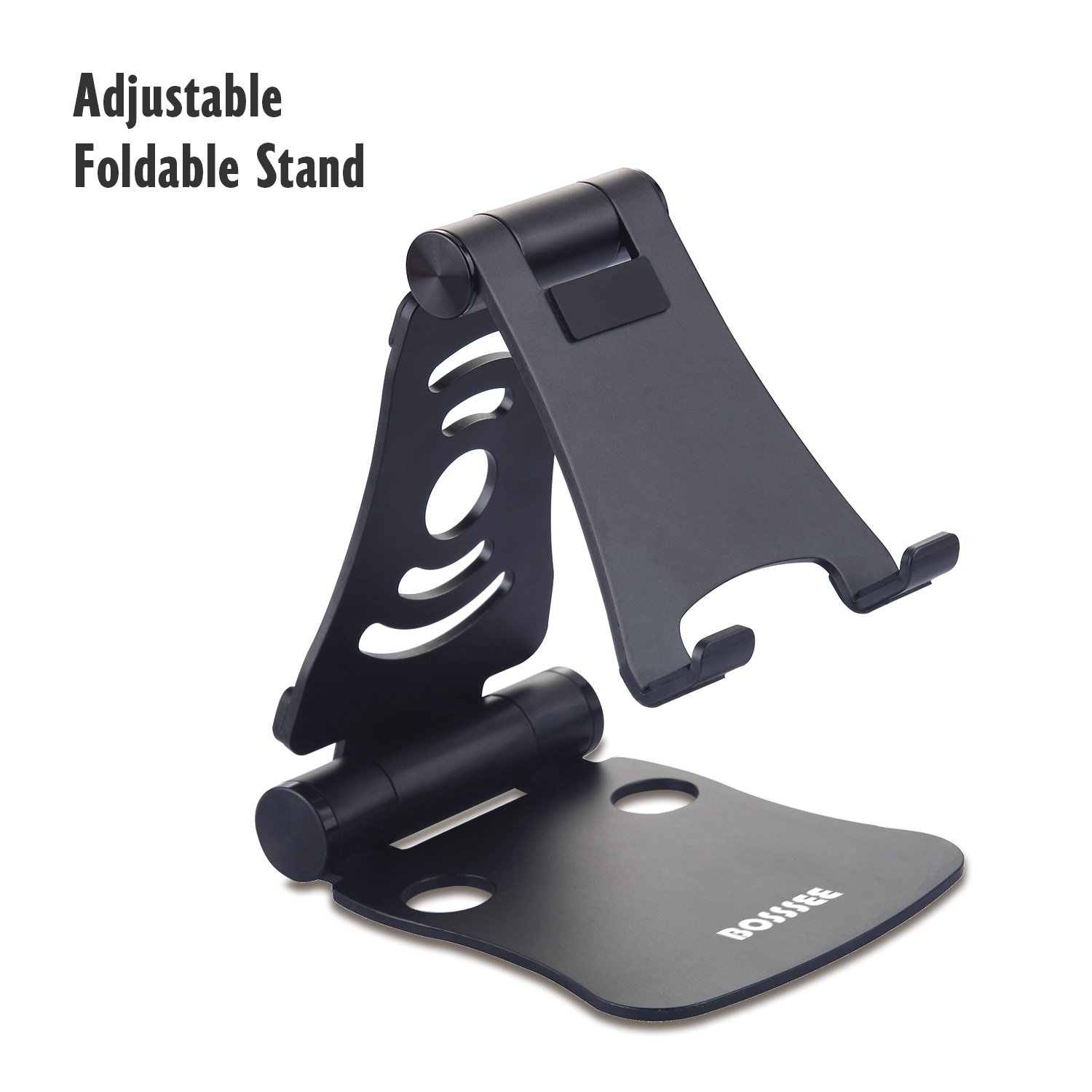 Cell Phone Stand Adjustable Foldable Aluminum Tablet Stand Versatile Portable 270 Degree Desktop iPhone Holder for iPhone iPad Samsung Tablet Macbook Android Smartphone (4-13 inch) (Black)