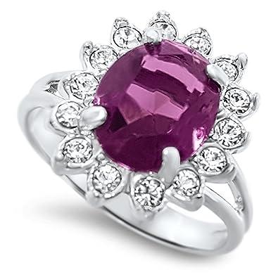 da131415d Princess Pink Engagement Ring 18k Platinum Plated With Swarovski Crystals:  Amazon.co.uk: Jewellery