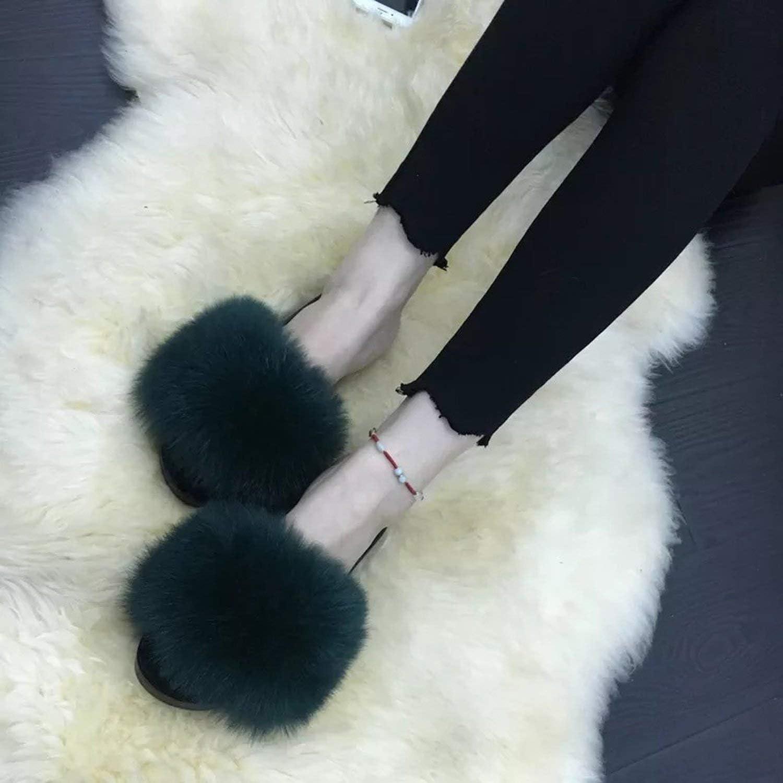 Womens Furry Slippers Ladies Cute Plush Fox Hair Fluffy Slippers Women Fur Slippers,Fox hair12,7.5