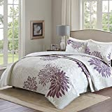 quilts king size purple - Comfort Spaces – Enya Quilt Mini Set - 3 Piece – Purple and Grey – Floral Printed Pattern – King size, includes 1 Quilt, 2 Shams
