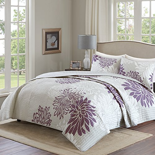 Comfort Spaces – Enya Quilt Mini Set - 3 Piece – Purple and Grey – Floral Printed Pattern – King size, includes 1 Quilt, 2 Shams (King Quilt Clearance)