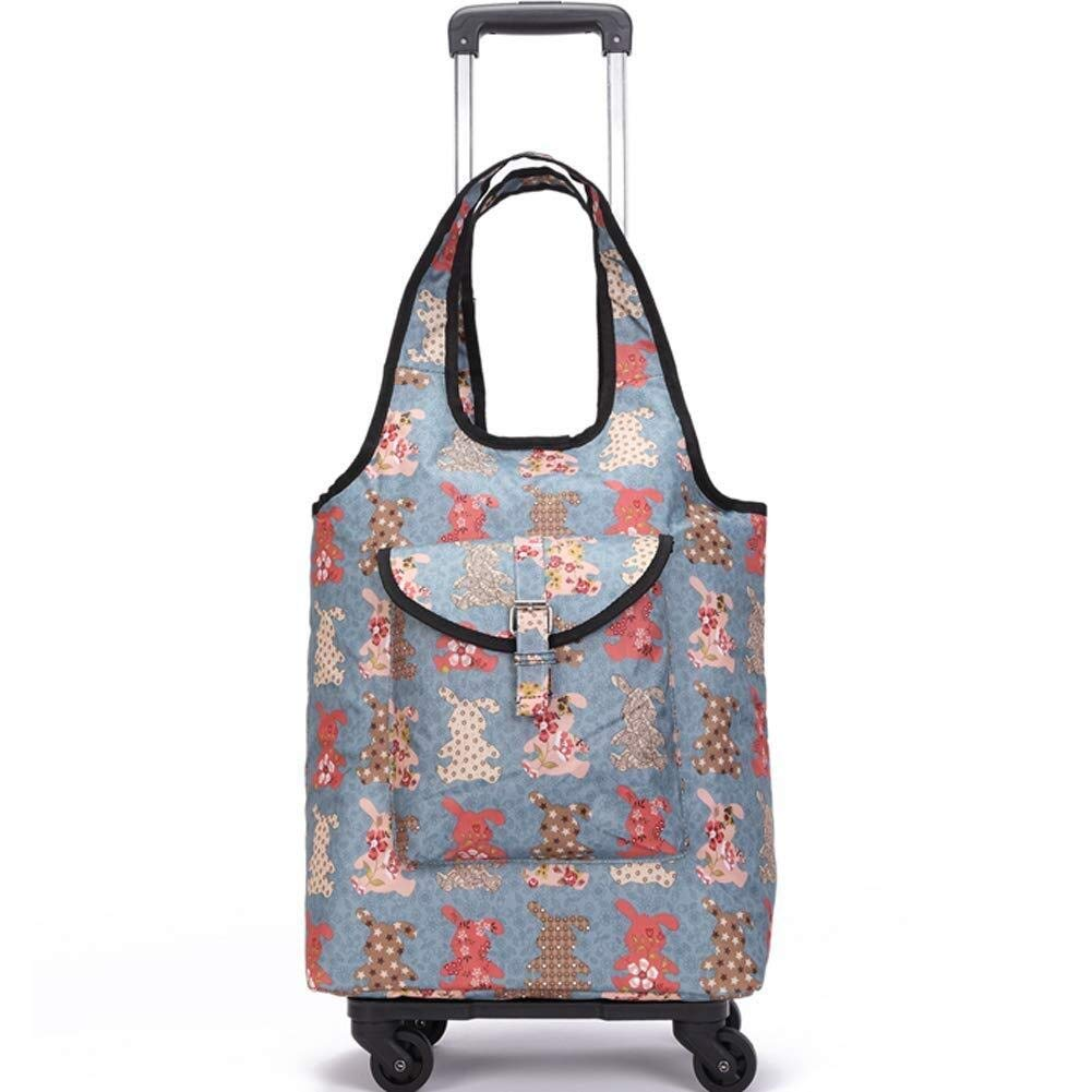 Lightweight Shopping Cart for Women Grocery Trolley Travel Suitcase Cabin Rolling Luggage Bag,Handbag with Wheel (Color : B)