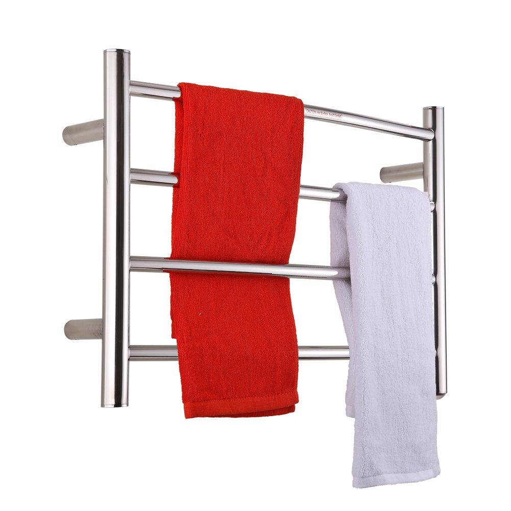 SHARNDY Electric Towel Warmer Curve Towel Bars ETW29 Polish Chrome Hard-Wired and Wall-Mounted, 4 Heated Bars, hot Towel Rack by SHARNDY