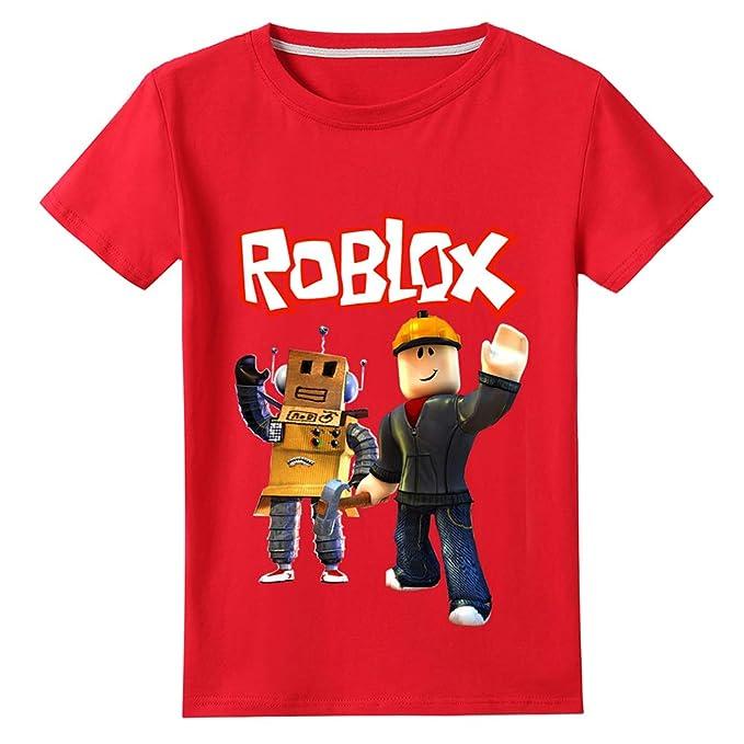 Roblox Camiseta Cuello Redondo Casual Top Fashion Impreso Camiseta Cómoda algodón Puro Manga Corta niñas