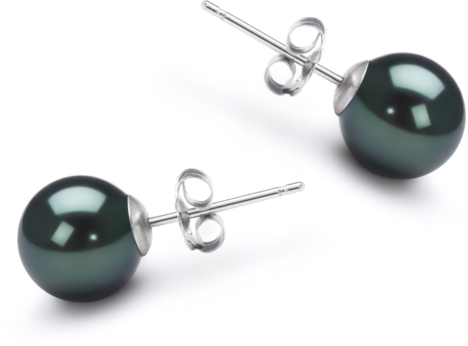PearlsOnly - Black 7-8mm AA Quality Japanese Akoya 14K White Gold Cultured Pearl Earring Pair