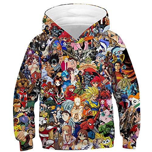 TAKUSHI HF Teen Boys Girls Fashion 3D Printed Galaxy Long Sleeve Pullover Hoodies Hooded Sweatshirts with Pocket 6-13Y(Anime,L) -