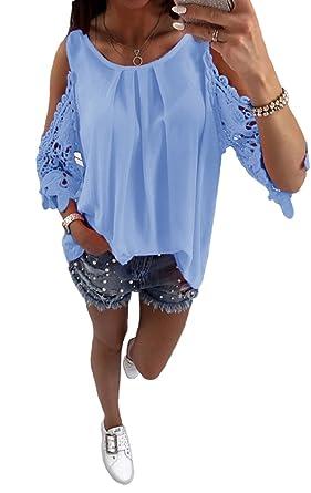 Evedaily Sexy Oberteil Damen Schulterfrei Loose Kurzarm Hemd Top Off  Shoulder T-Shirt Sommer Bluse Rundausschnitt Hohles Muster  Amazon.de   Bekleidung 0567aa0785
