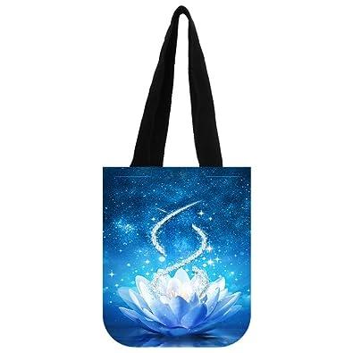 e1c056018a43 Amazon.com: COL DOM Tote Bag Custom Blue flower Tote Bag Shipping ...