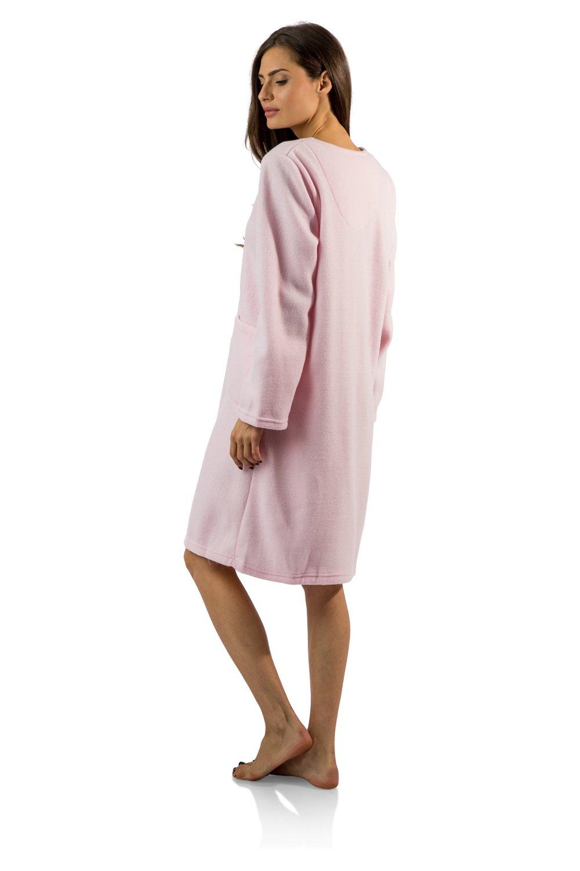 Casual Nights Women's Long Sleeve Zip Up Front Short Fleece Robe - Pink - Medium by Casual Nights (Image #3)