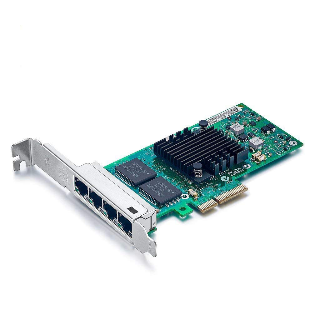 LEWZZY 4 Port RJ-45 10/100/1000Mbps PCI Express Gigabit Ethernet Server Adapter 4 Port Network Interface Controller Card, Same as Intel I350-T4