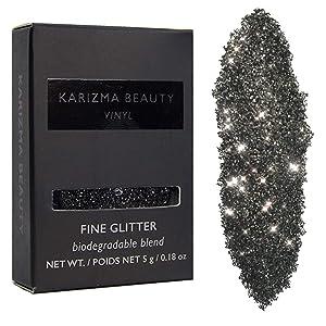 Vinyl Black Glitter Eyeshadow Biodegradable // Karizma Beauty Bio Glitter Eco Glitter Face Glitter Loose Eyeshadow
