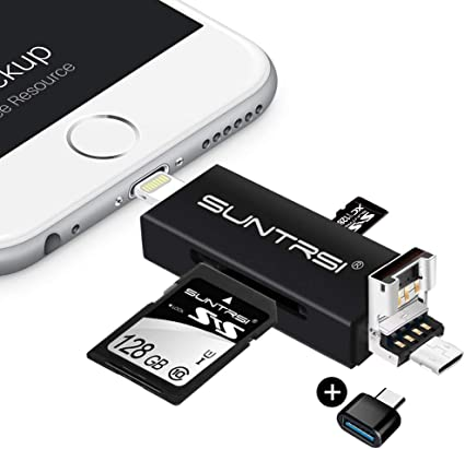 suntrsi TF/SD Card Reader compatible with iPhone/OTG Android/Computer, Micro SD Card Reader compatible with iPhone/iPad Charging,Compatible to SD Card ...