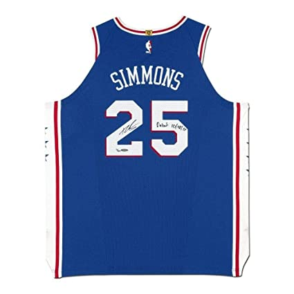 official photos 6814b 64b0a Ben Simmons Signed Jersey - Blue Debut 10 18 17 Inscribed ...
