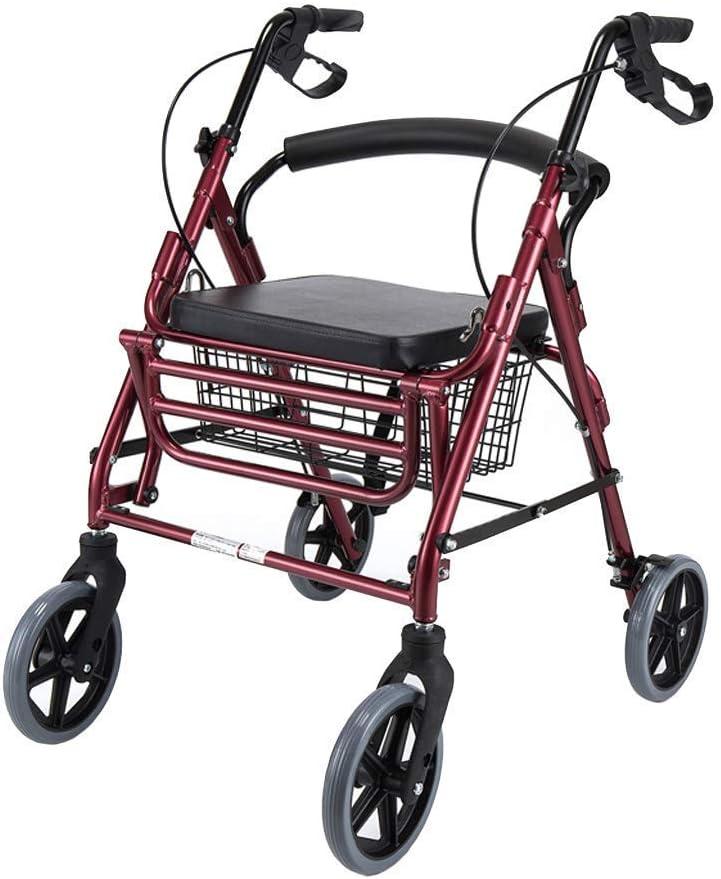 JIN Caminar Rodillo Aid Medical Instruments Walker con Asiento de Freno Y 4 Ruedas Ligeras Que Dobla la Ayuda de Vehículos Motorizados Adulto Rojo Del Balanceo para Los Adultos Mayores Y Discapacitad