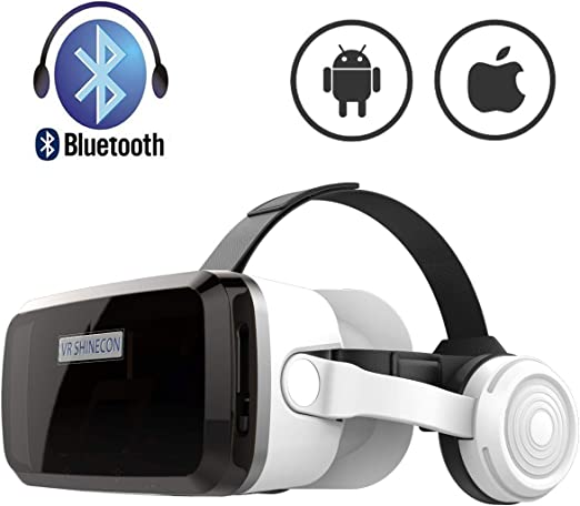 Amazon Com Vr Headset With Bluetooth Headphones Eye Protected Hd Virtual Reality Headset Vr Glasses For Iphone And Android Phone Within 4 7 6 2screen