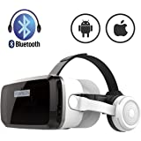VR Headset with Bluetooth Headphones, Eye Protected HD Virtual Reality Headset,VR Glasses for iPhone and Android Phone Within