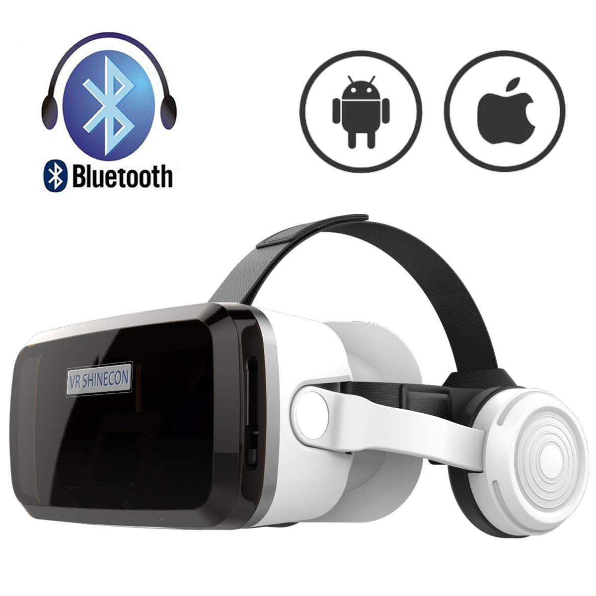 VR Headset with Bluetooth Headphones, Eye Protected HD Virtual Reality Headset,VR Glasses for iPhone and Android Phone Within 4.7-6.2Screen by VR SHINECON