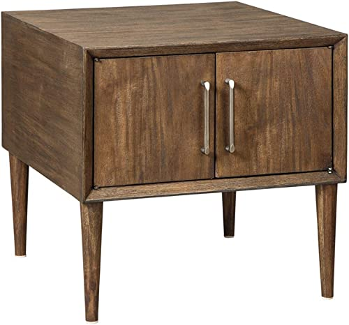 Signature Design by Ashley – Kisper Mid Century Modern Square End Table, Dark Brown